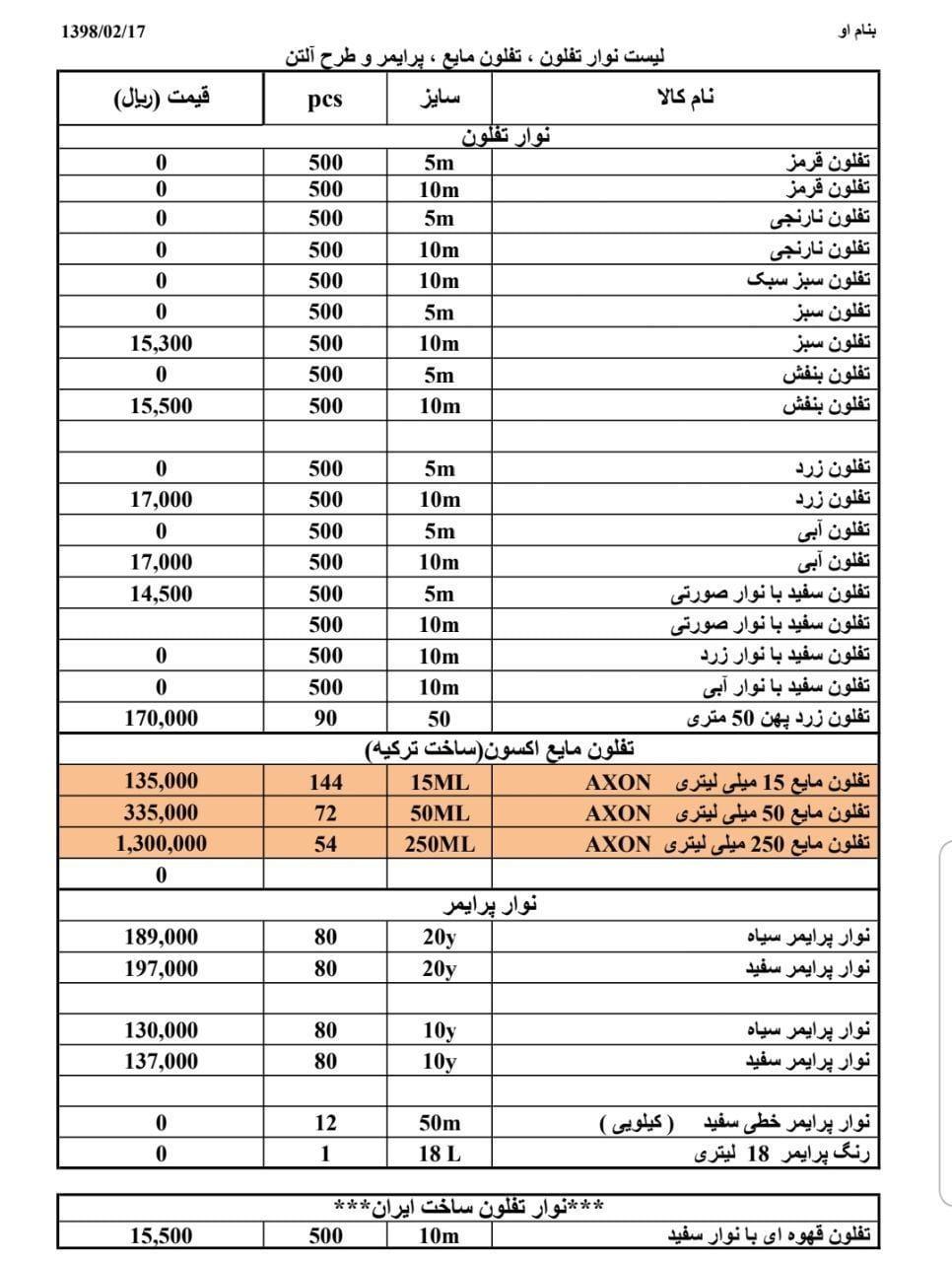 لیست قیمت نوار تفلون و پرایمر